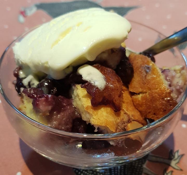 Blueberry Bread Pudding with vanilla ice-cream
